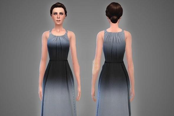 模拟人生4纯色露肩连衣裙mod