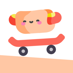 歡樂熱狗玩滑板