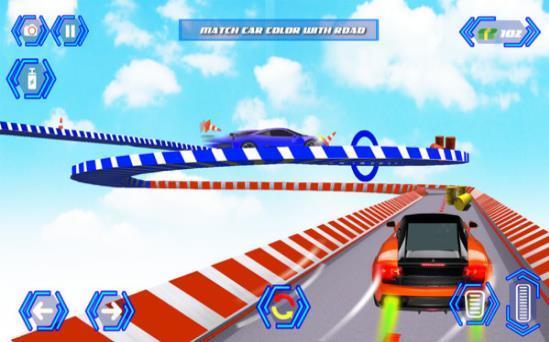 彩色汽车轨道特技赛游戏截图