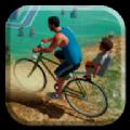 帶兒子上學開自行車