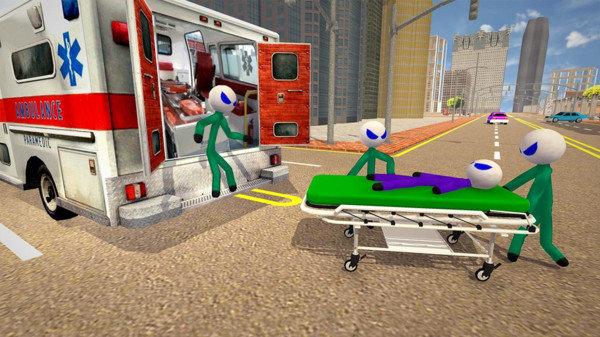 火柴人救护车驾驶游戏截图