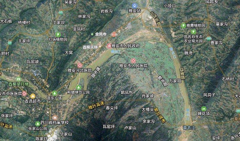 雅安卫星地图