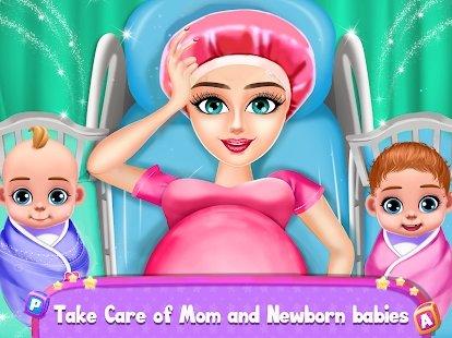 怀孕的妈妈和双胞胎婴儿护理
