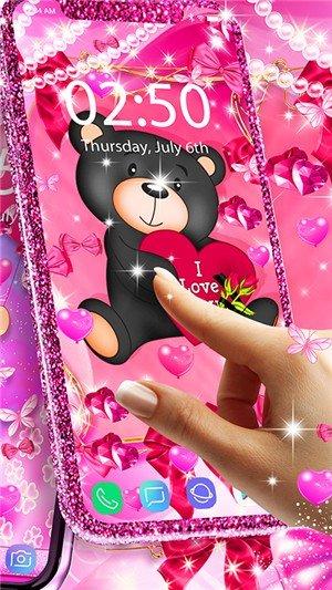 泰迪熊爱心动态壁纸